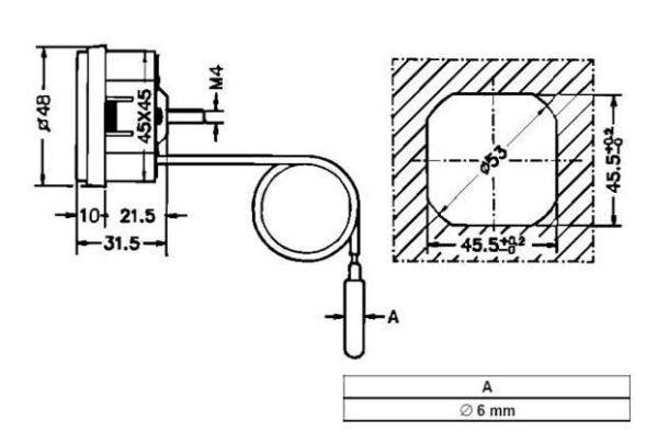 Термометр SVT LT151 (45х45мм) з виносним капіляром