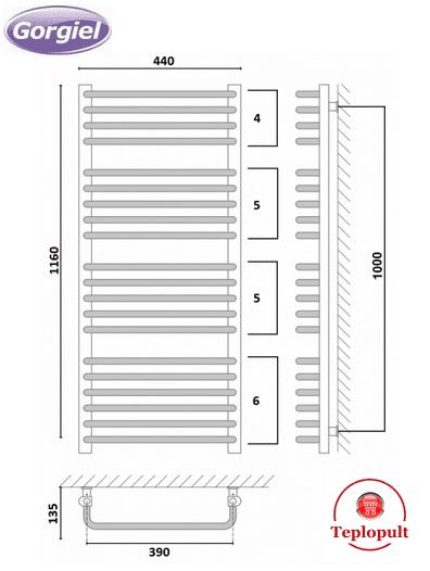 Полотенцесушитель белый Gorgiel AE – 116/44 (Польша) – 20 ребер