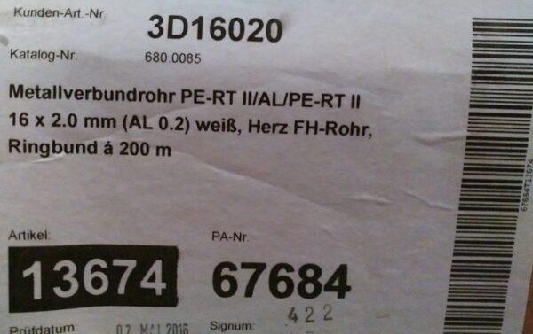 Труба HERZ 16*2 (200м) металопластик