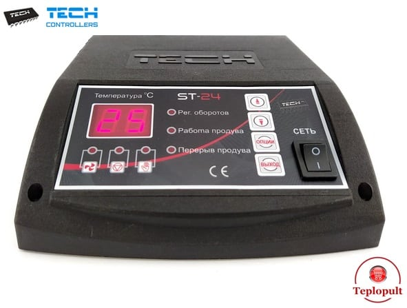 Контроллер TECH ST-24 [ для 1 вентилятора и 1 насоса ЦО ]