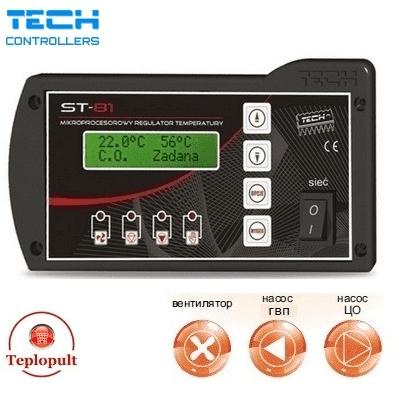 Контроллер TECH ST-81 [на 1 вентилятор + 1 насос ЦО + 1 насос ГВС]