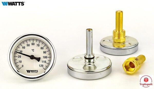 Термометр Watts 63/50 F+R801, с погружной гильзой