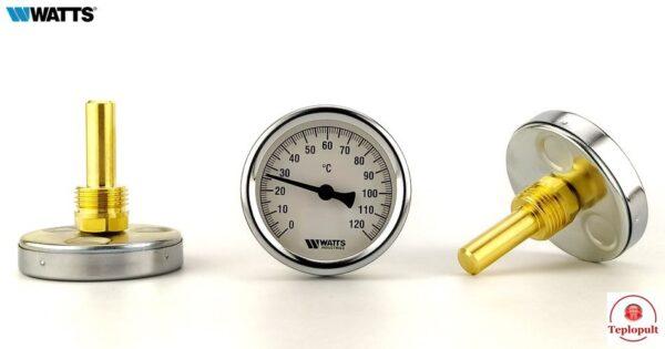 Термометр Watts 63/50 F+R801, аксіальний, з гільзою