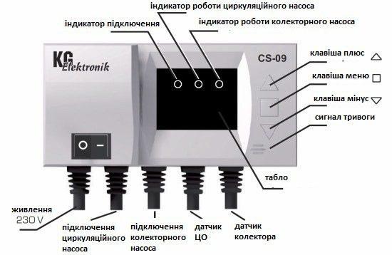 Контроллер CS-09 [для солнечного коллектора и насоса]
