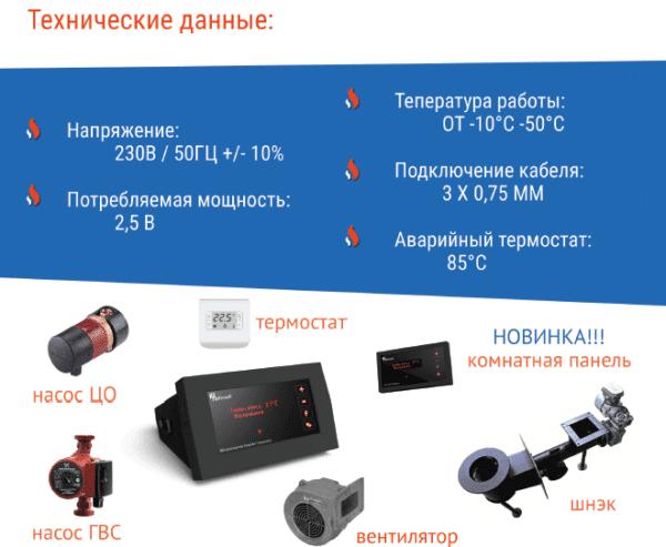 Автоматика для котла CS-18, SP-18z (1вент+2нас+шнек)