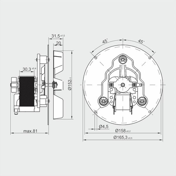Вытяжной дымомос RR152-3030LH