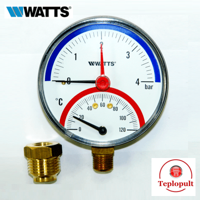 Термоманометр радиальный WATTS F+R828 (4 бар, 120°С)