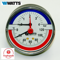 Термоманометр аксіальний WATTS F+R818, 0-4 bar