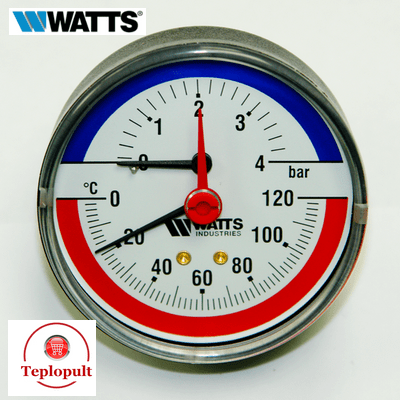 Термоманометр аксиальный WATTS F+R818 (4 бар, 120°С)