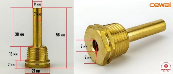 Гільза для датчика температури (діаметр -7/9мм), 5.8 см, 1/2″