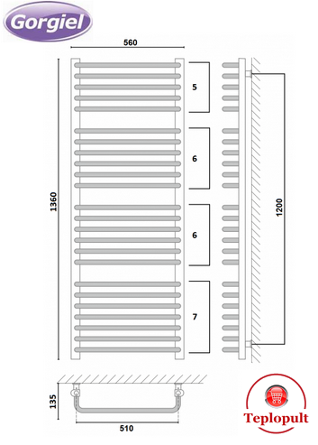 Полотенцесушитель белый Gorgiel AE – 136/56 (Польша) – 24 ребра