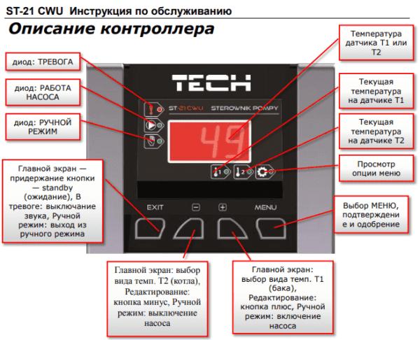 Автоматика ST-21 CWU (на 1 насос ГВП, буфер)