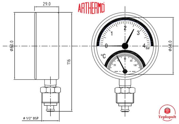 Термоманометр радиальний Arthermo TI110 (4 бар, 120°С)