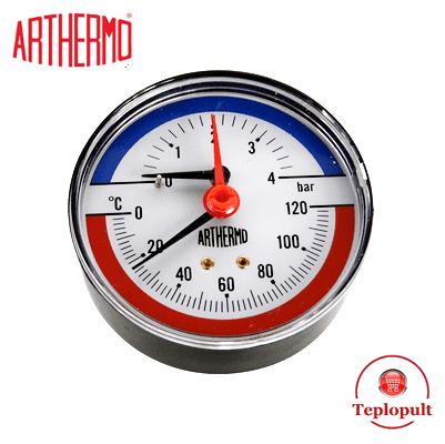 Термоманометр аксиальный Arthermo TI003 (4 бар, 120°С)