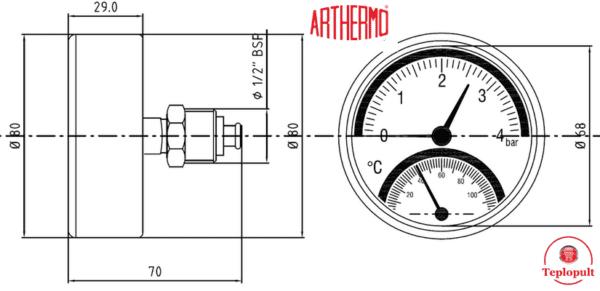 Термоманометр аксіальний Arthermo TI003 (4Bar, 120°C)
