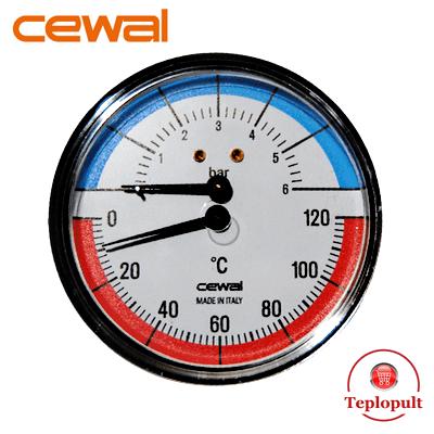 Термоманометр аксиальный Cewal TRP 80 VI (6Bar, 120°C)