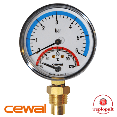 Термоманометр радіальний Cewal TRR 80 VI (6Bar, 120°C)