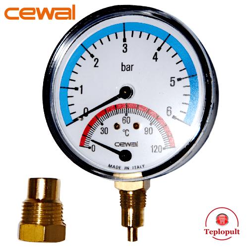Термоманометр радиальний Cewal TRR 80 VI (6Bar, 120°C)
