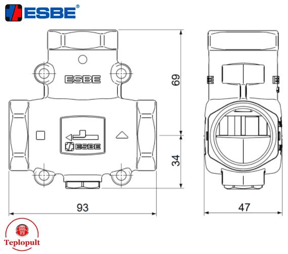 Триходовий змішуючий клапан Esbe VTC511 60°С DN25 1″(арт.51020300)