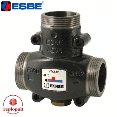 Трехходовой смесительный клапан Esbe VTC 512 50°С DN32 1 1/2″ (арт.51022000)