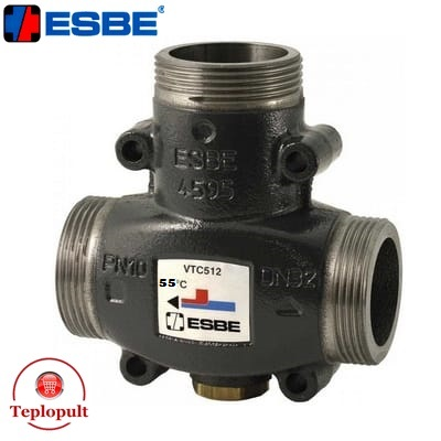 Трехходовой смесительный клапан Esbe VTC 512 55°С DN32 1 1/2″ (арт.51022100)
